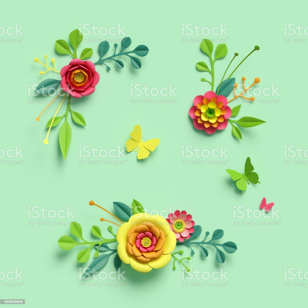 3d Render Craft Paper Flowers Festive Floral Bouquet Clip Art Set