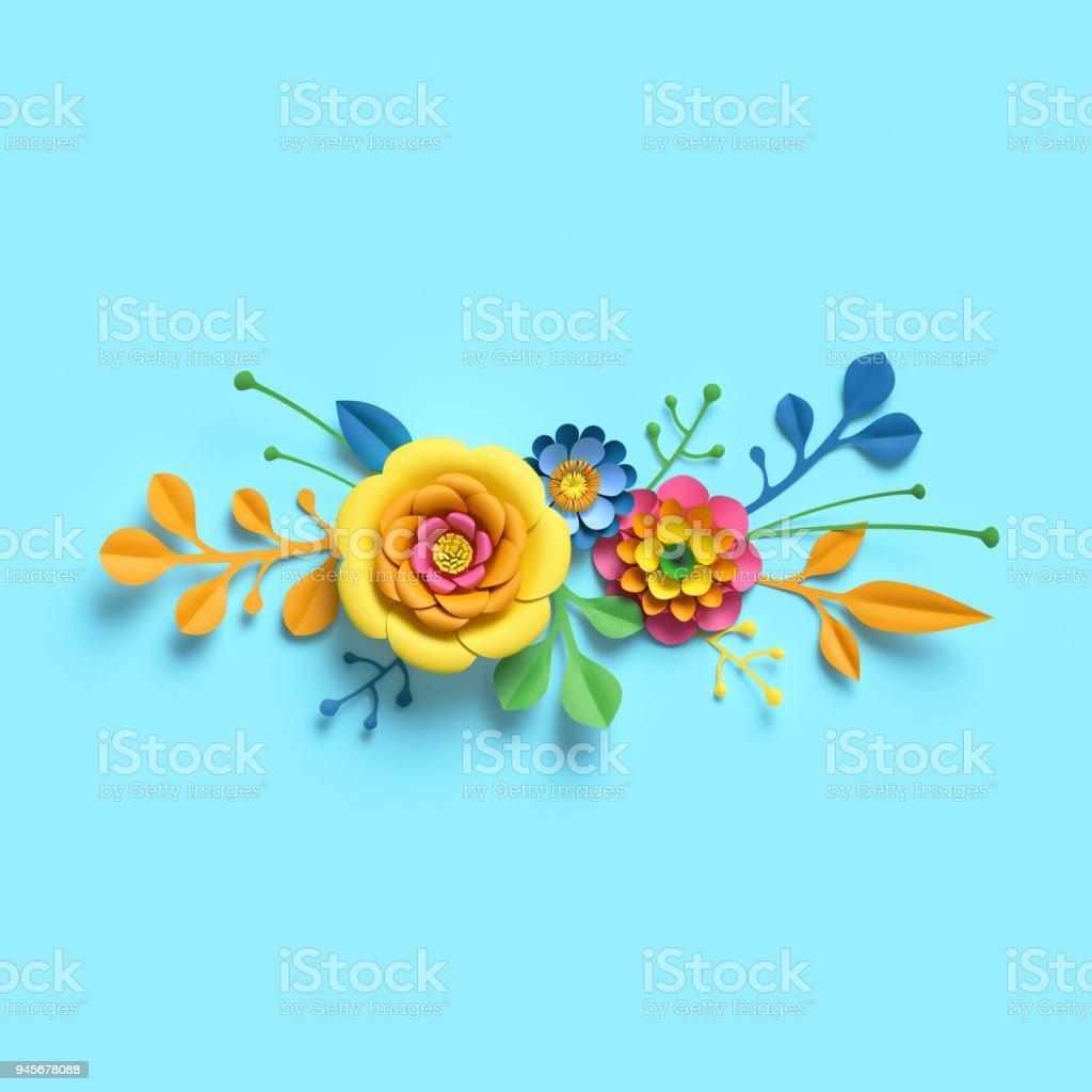 3d Render Craft Paper Flowers Festive Floral Bouquet Horizontal