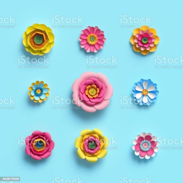 3d render craft paper flowers floral clip art set botanical design picture id945678056?b=1&k=6&m=945678056&s=612x612&h=aknyeplwr62b6it3w6knsprz3mq blcu1cozprjxrfs=