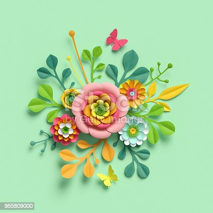 istock 3d render, craft paper flowers, Mother's Day floral bouquet, yellow dahlia, botanical arrangement, bright candy colors, nature clip art isolated on mint green background, decorative embellishment 955809000