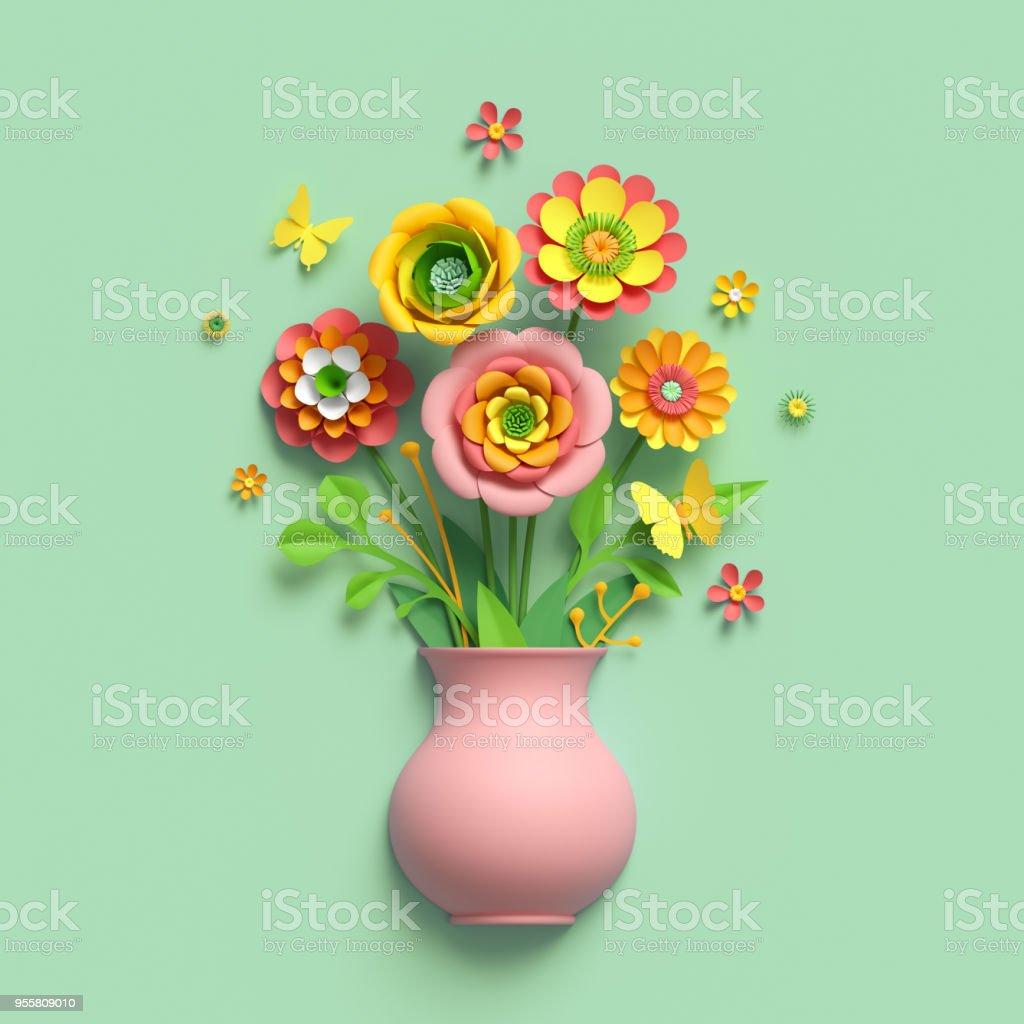 3d Render Craft Paper Flowers Pink Vase Floral Bouquet Botanical