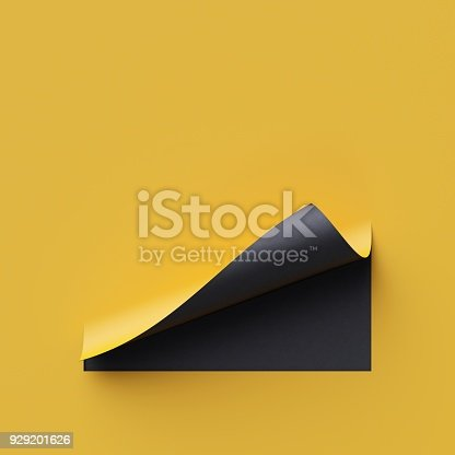 istock 3d render curled corners of note paper. Sheet of paper with page curl and shadow, design element for advertising and promotional message. Yellow and black creative background, modern mock up. 929201626
