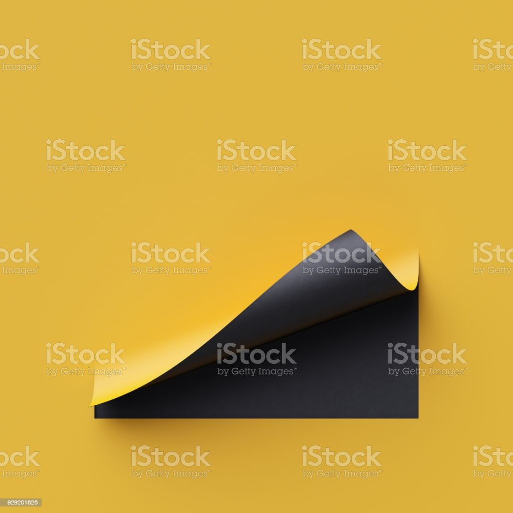 3d render curled corners of note paper. Sheet of paper with page curl and shadow, design element for advertising and promotional message. Yellow and black creative background, modern mock up. stock photo