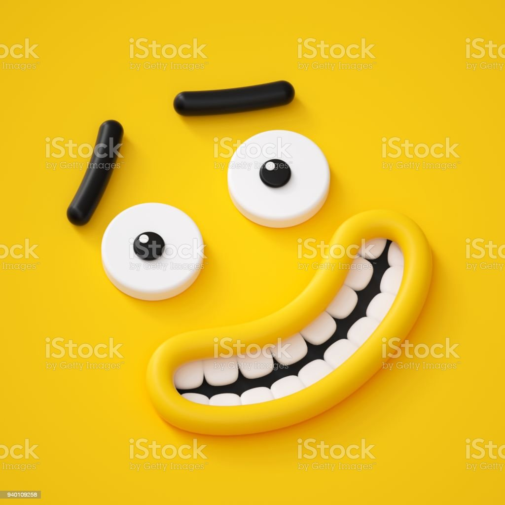 3d Render Cute Childish Face Smile Amazed Emotion Emoji Emoticon