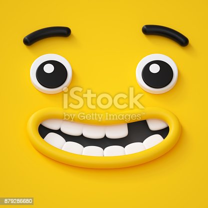 istock 3d render, cute childish face, toothless smile, amazed emotion, emoji, emoticon, funny monster 879286680