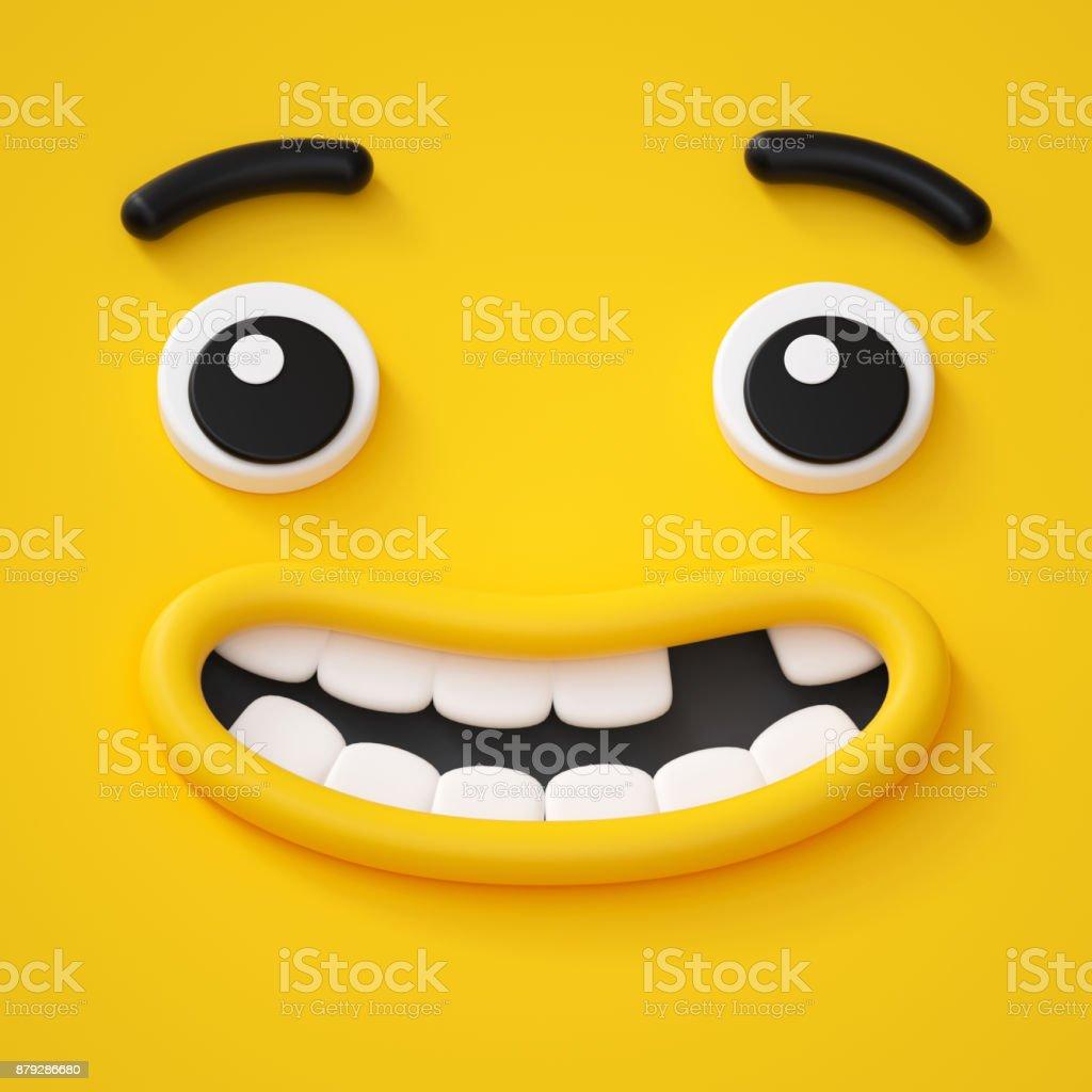 3d render, cute childish face, toothless smile, amazed emotion, emoji, emoticon, funny monster stock photo