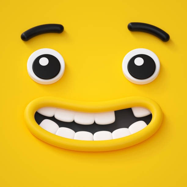 3d render, cute childish face, toothless smile, amazed emotion, emoji, emoticon, funny monster - характеры стоковые фото и изображения