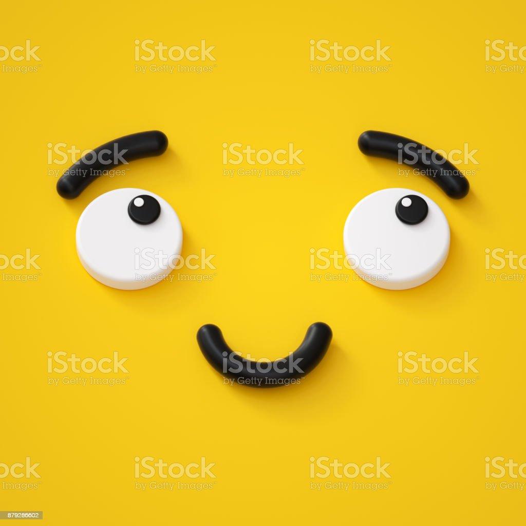 3d render, cute emotional cartoon face, shy smiley kid, adorable smile, dreamer, emoticon, emoji stock photo