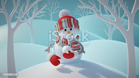 1056829102 istock photo 3d render, cute funny snowman wearing red hat and scarf, holding snowball, standing in snowy forest, winter Christmas background, New Year greeting card, festive character 1053590240