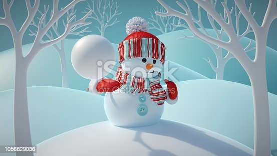 1056829102 istock photo 3d render, cute funny snowman wearing red hat and scarf, throwing snowball, standing in snowy forest, winter Christmas background, New Year greeting card, festive character 1056829036