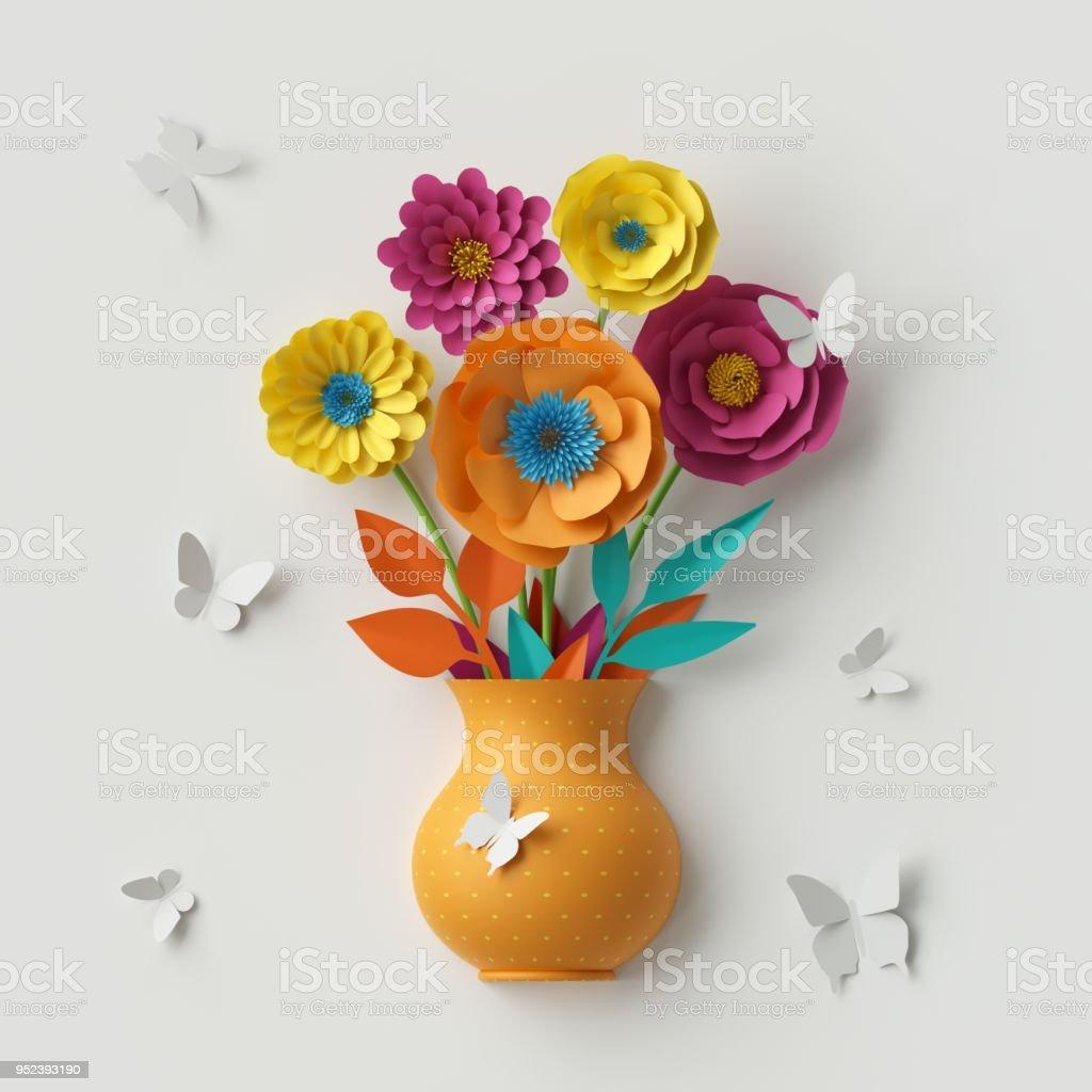 How To Make A Paper Flower Vase At Home Papercraft Flower Vase