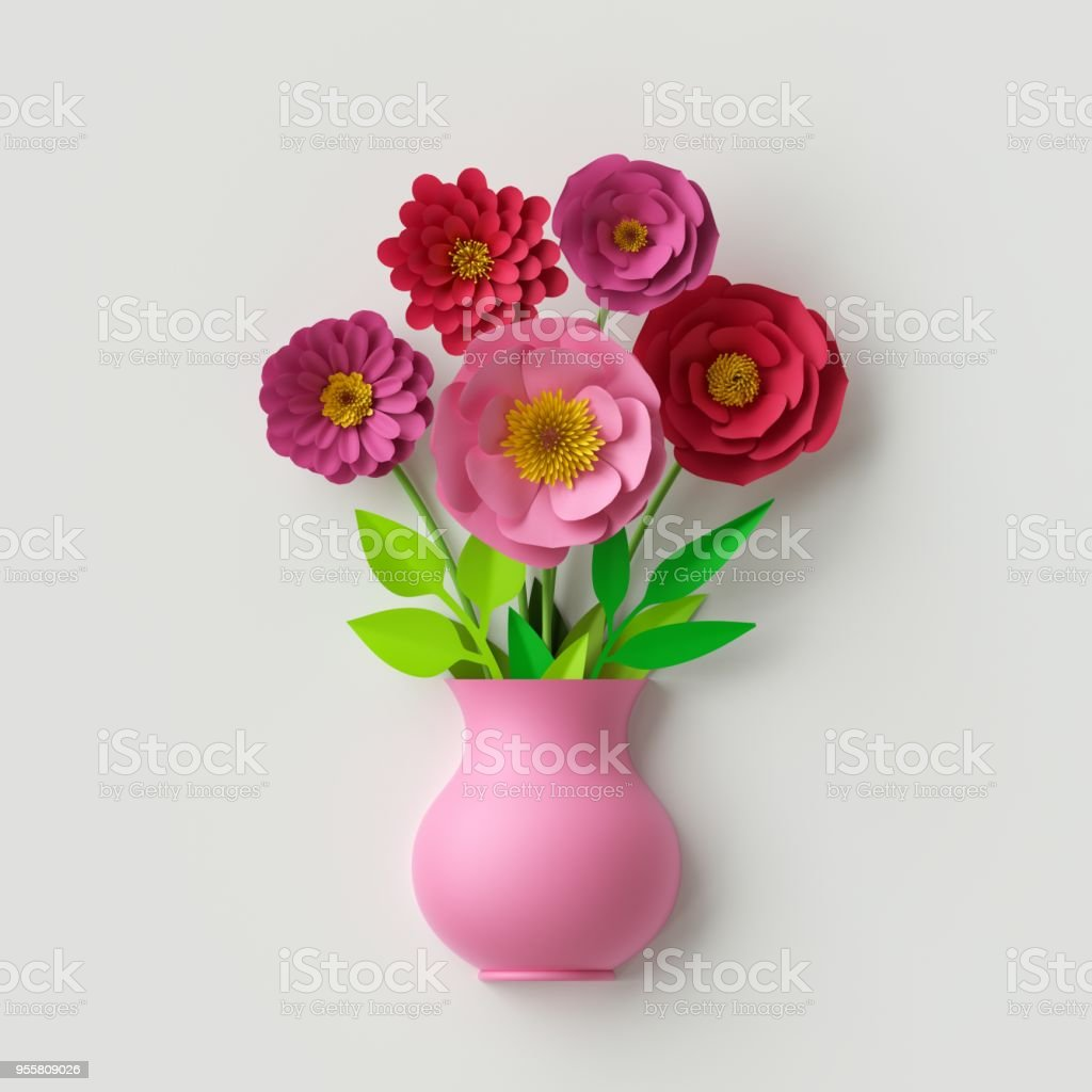 3d Render Cute Pink Vase With Colorful Paper Flowers Bouquet Inside