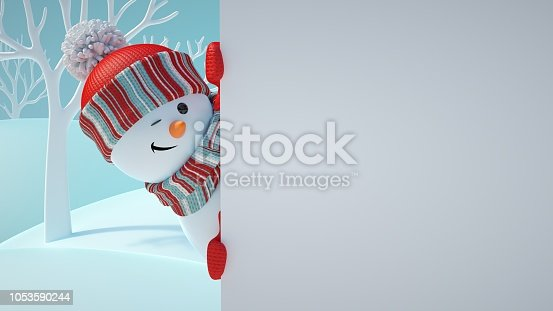 istock 3d render, cute snowman blinking, playing hide and seek, looking out the corner, holding blank banner, white page, Christmas background, New Year, greeting card, space for text, winter landscape 1053590244