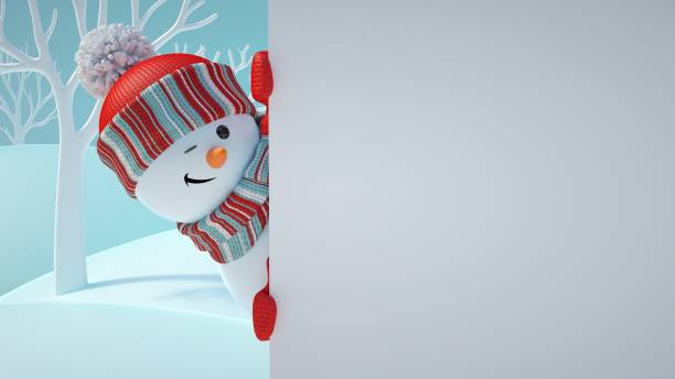 3d 渲染, 可愛的雪人閃爍, 玩捉迷藏, 望出角落, 拿著空白橫幅, 白頁, 耶誕節背景, 新年, 賀卡, 文字空間, 冬季景觀 - 卡通 個照片及圖片檔