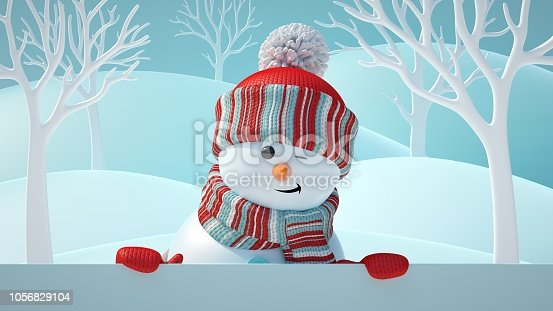 1056829102 istock photo 3d render, cute snowman blinking, smiling, looking at camera, holding blank banner, behind white page, Christmas background, New Year, greeting card, space for text, winter landscape 1056829104