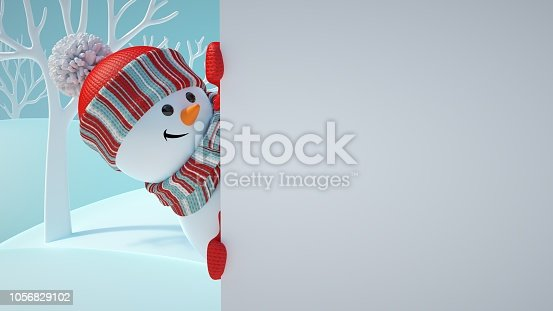 istock 3d render, cute snowman, playing hide and seek, looking out the corner, holding blank banner, white page, Christmas background, New Year, greeting card template, space for text, winter landscape 1056829102