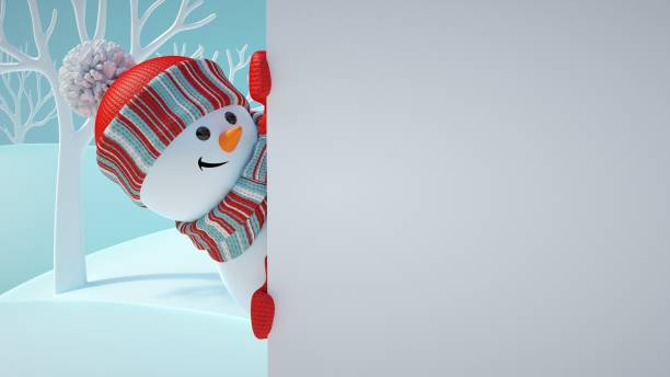 3d render, cute snowman, playing hide and seek, looking out the corner, holding blank banner, white page, Christmas background, New Year, greeting card template, space for text, winter landscape 3d render, cute snowman, playing hide and seek, looking out the corner, holding blank banner, white page, Christmas background, New Year, greeting card template, space for text, winter landscape snowman stock pictures, royalty-free photos & images