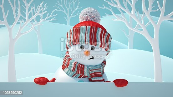 1056829102 istock photo 3d render, cute snowman smiling, looking at camera, holding blank banner, white page, Christmas background, New Year, greeting card, space for text, winter landscape 1053590252