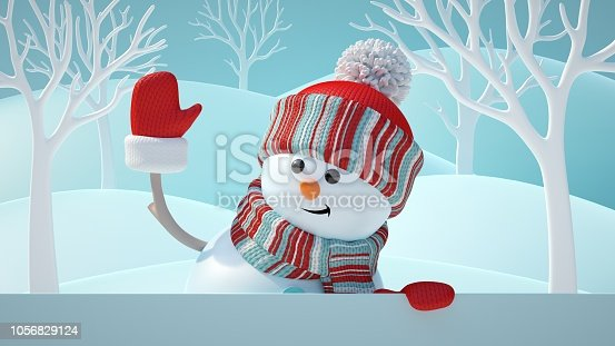 1056829102 istock photo 3d render, cute snowman, smiling, waving hand, looking aside, holding blank banner, white page, Christmas background, New Year, greeting card, space for text, winter landscape 1056829124