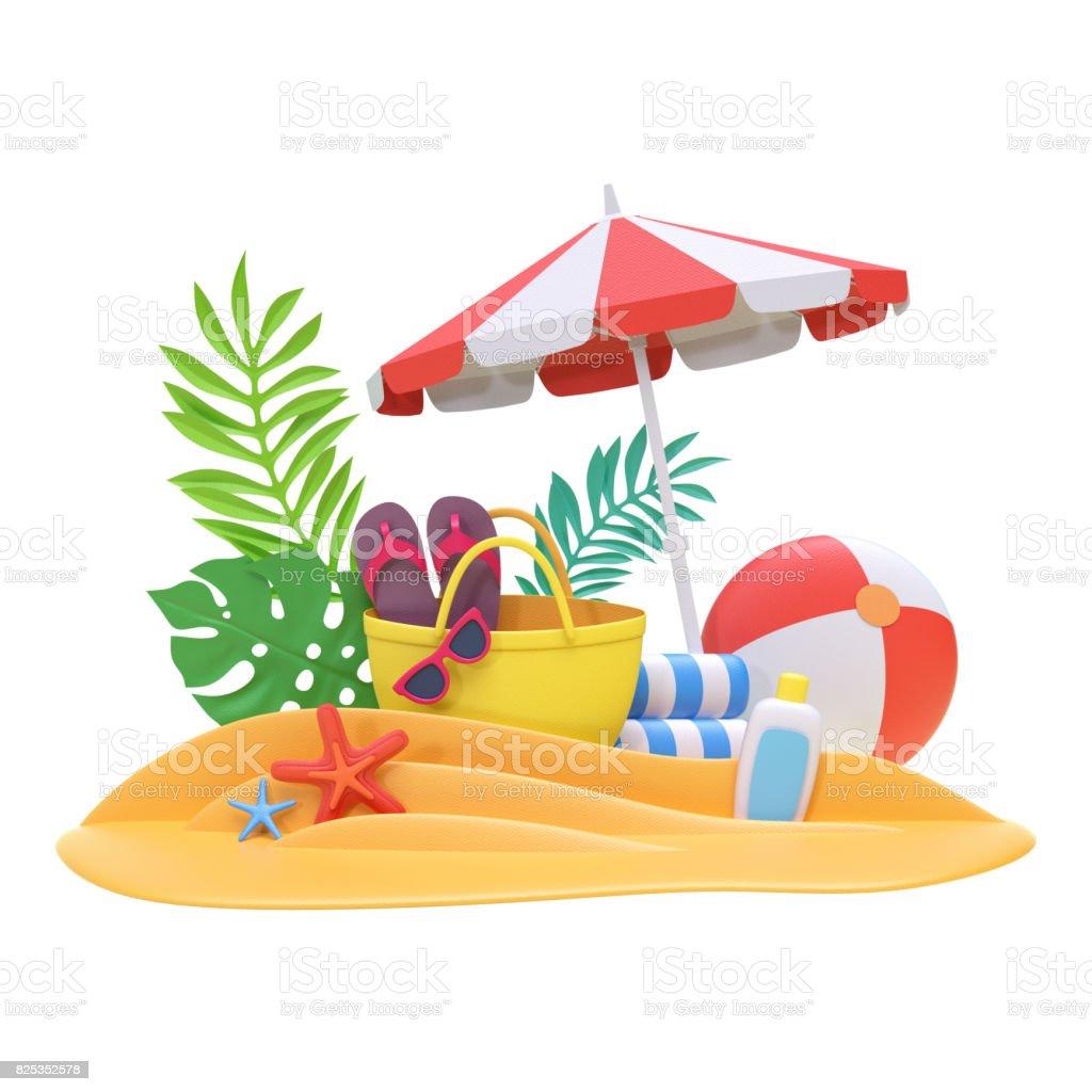 3d Render Decorative Paper Craft Beach Picnic Bag Tropical ...