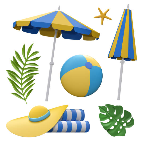 3d render, decorative paper craft, beach umbrella, hat, ball, vacation design elements, summer holiday clip art set, isolated on white background stock photo
