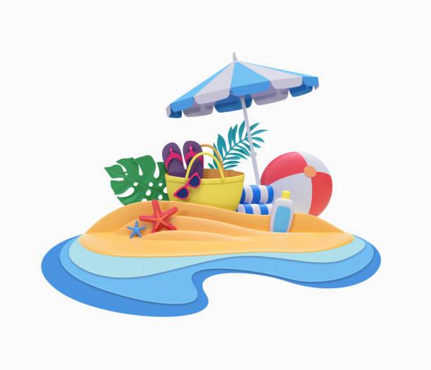 rendu 3D, créations en papier décoratif, vacances d'été, pique-nique plage tropical resort, clipart vacances isolée sur fond blanc - Photo