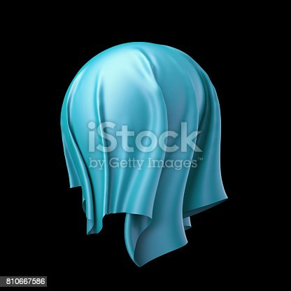 istock 3d render, digital illustration, abstract cloth, flying, falling, soaring fabric, unveil drapery, blue silky curtain, spherical, textile cover, isolated on black background 810667586