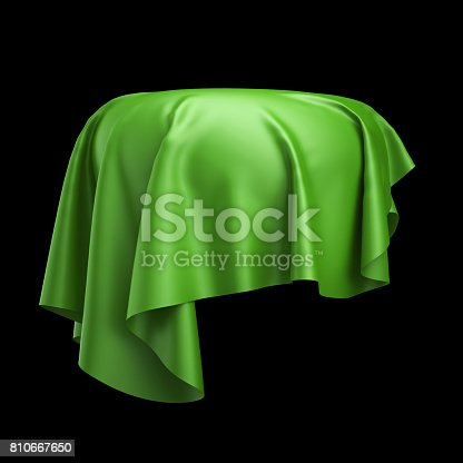 istock 3d render, digital illustration, abstract cloth, flying, falling, soaring fabric, unveil drapery, green silky curtain, corner, textile cover, isolated on black background 810667650