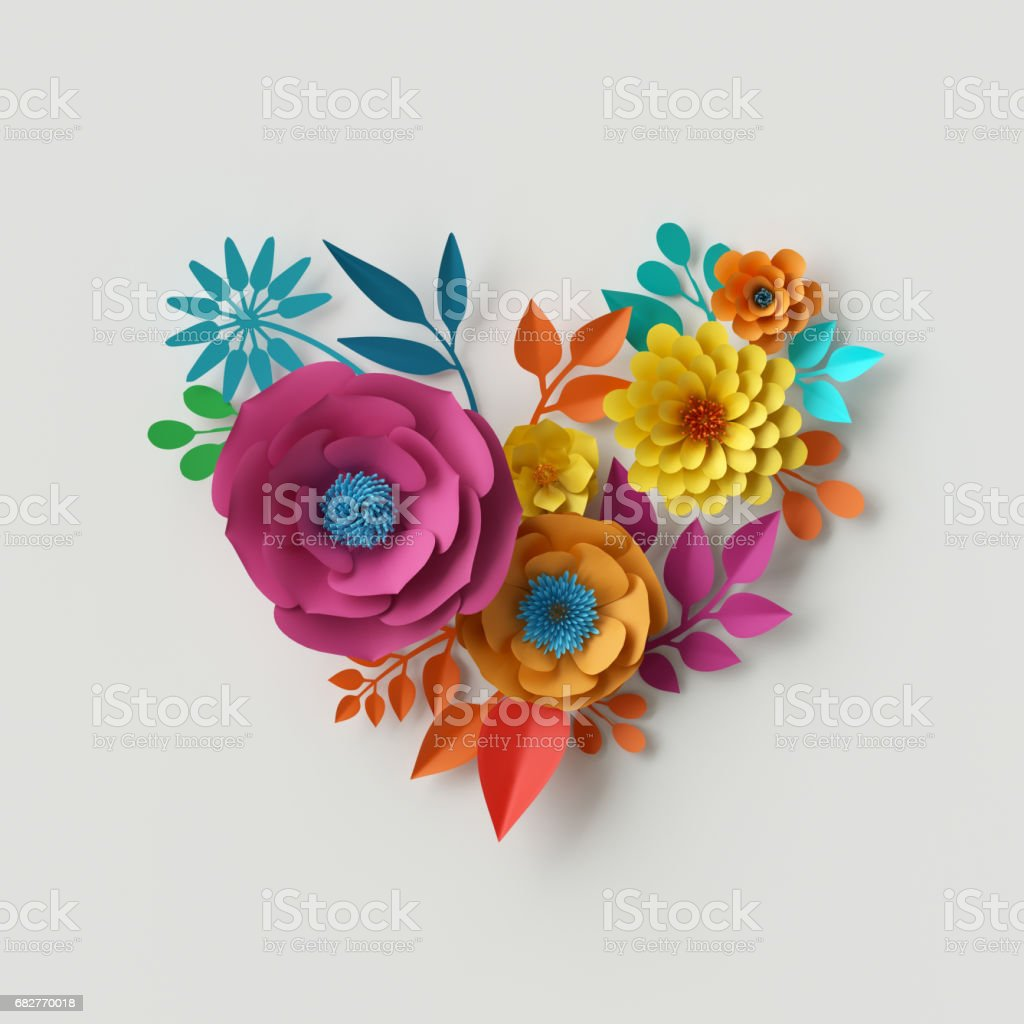 3d Render Digital Illustration Abstract Colorful Paper Flowers