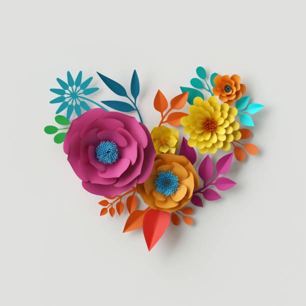 3d render, digitale illustration, abstrakte bunte papierblumen, quilling handwerk, handgemachte festliche dekoration, lebendige florale herz, lebendige hintergrund, minze rosa gelb - heiratssprüche stock-fotos und bilder