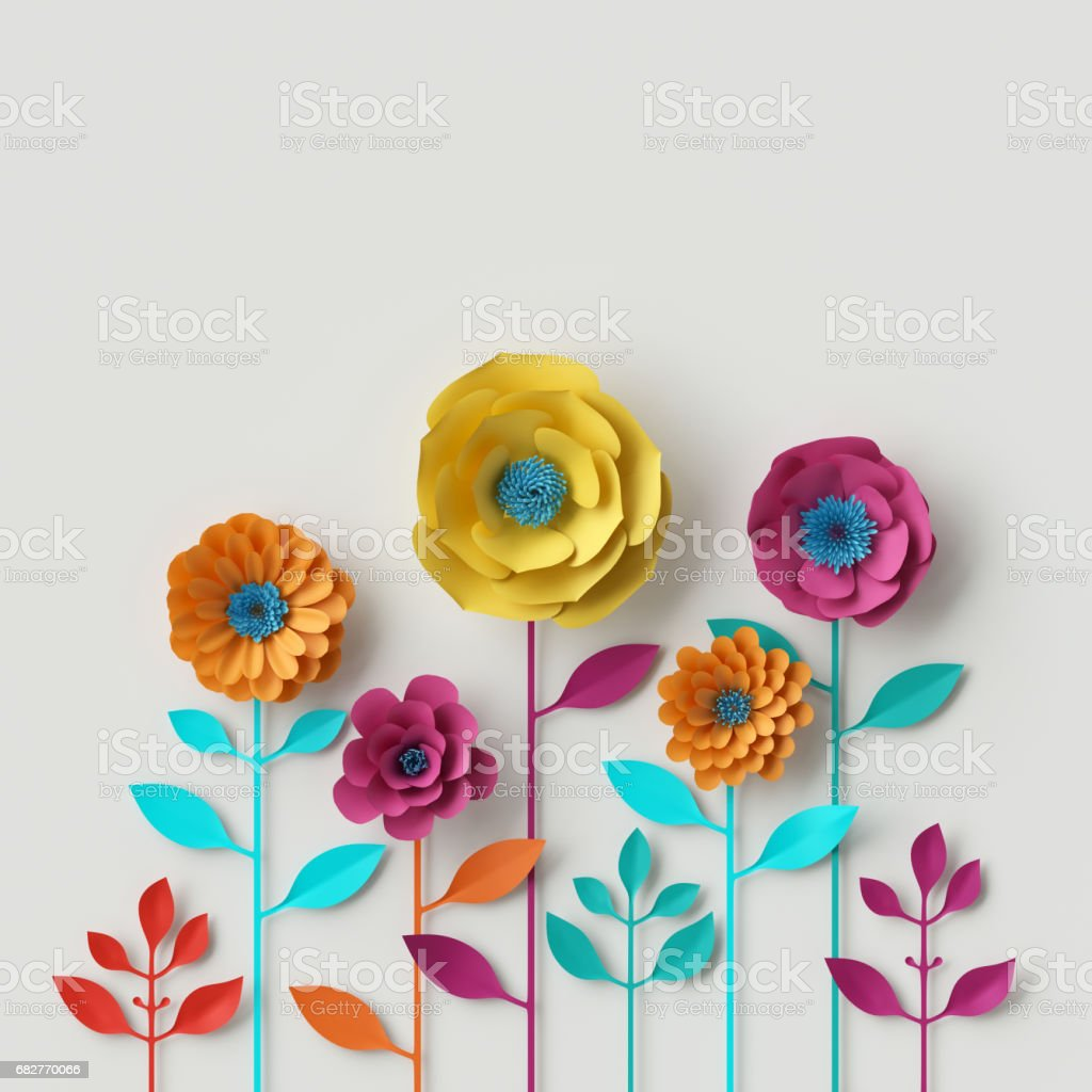 3d render, digital illustration, abstract colorful paper flowers, quilling craft, handmade festive decoration, vivid floral background, mint pink yellow stock photo