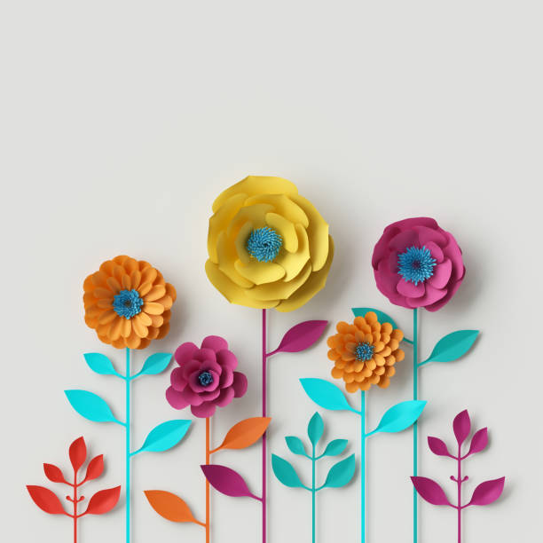 résumé de rendu 3d, illustration numérique, fleurs en papier coloré, quilling, artisanat, décoration festive à la main, vive floral fond jaune menthe rose - printemps photos et images de collection