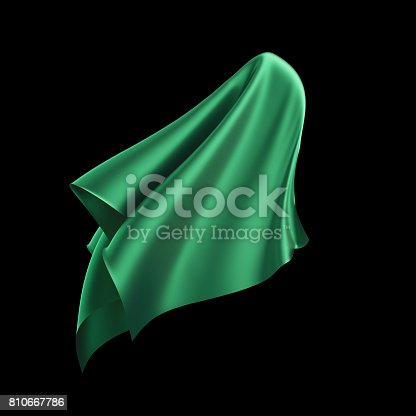 istock 3d render, digital illustration, abstract dynamic cloth, flying, falling, soaring fabric, unveil drapery, green silky curtain, textile cover, isolated on black background 810667786