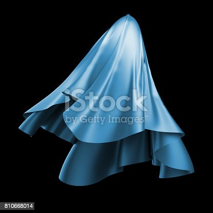 istock 3d render, digital illustration, abstract dynamic cloth, flying, falling, soaring fabric, unveil drapery, blue silky curtain, textile cover, isolated on black background 810668014