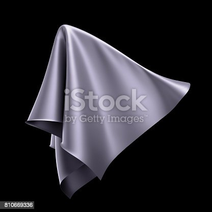 istock 3d render, digital illustration, abstract dynamic cloth, flying, falling, soaring fabric, unveil drapery, silver silky curtain, textile cover, isolated on black background 810669336