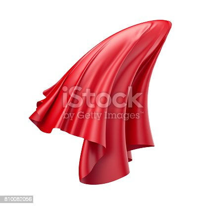810667324 istock photo 3d render, digital illustration, abstract folded cloth, flying, falling, soaring fabric, unveil, red curtain, textile cover, isolated on white background 810082056