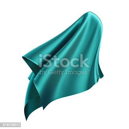 810667324 istock photo 3d render, digital illustration, abstract folded cloth, flying, falling, soaring fabric, unveil, green textile cover, curtain isolated on white background 816249012