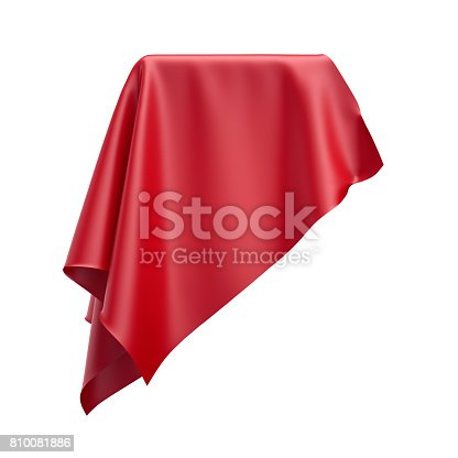 810667324 istock photo 3d render, digital illustration, abstract folded cloth, soaring fabric, red curtain, textile cover, isolated on white background 810081886