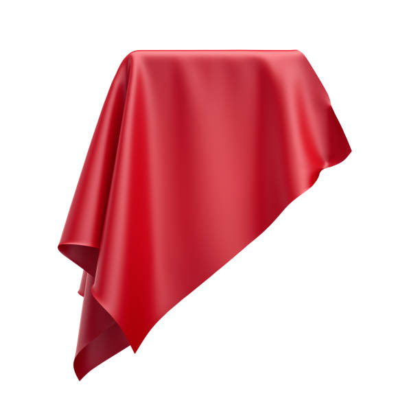 3d render, digital illustration, abstract folded cloth, soaring fabric, red curtain, textile cover, isolated on white background stock photo
