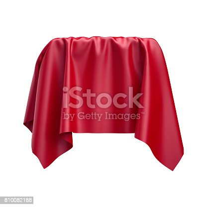 810667324 istock photo 3d render, digital illustration, abstract folded cloth, soaring fabric, unveil, spherical red curtain, textile cover, isolated on white background 810082188
