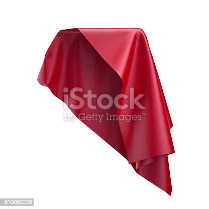 810667324 istock photo 3d render, digital illustration, abstract folded cloth, soaring fabric, unveil, spherical red curtain, textile cover, isolated on white background 810082228