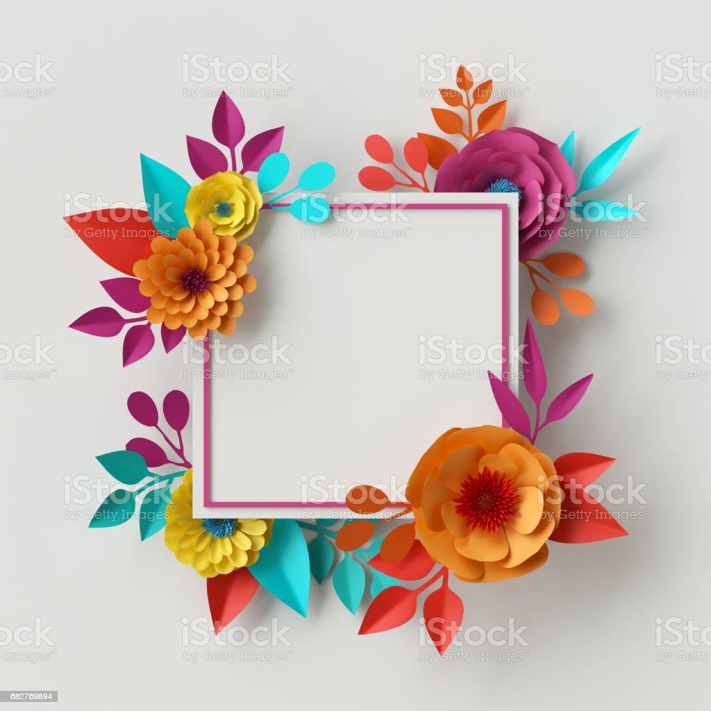 3D Render, digitale Illustration, abstrakte Bild, bunte Papierblumen, quilling Handwerk, handgemachte festliche Dekoration, lebendige Blumenkarte Minze rosa gelb, rechteckige Kartenvorlage – Foto