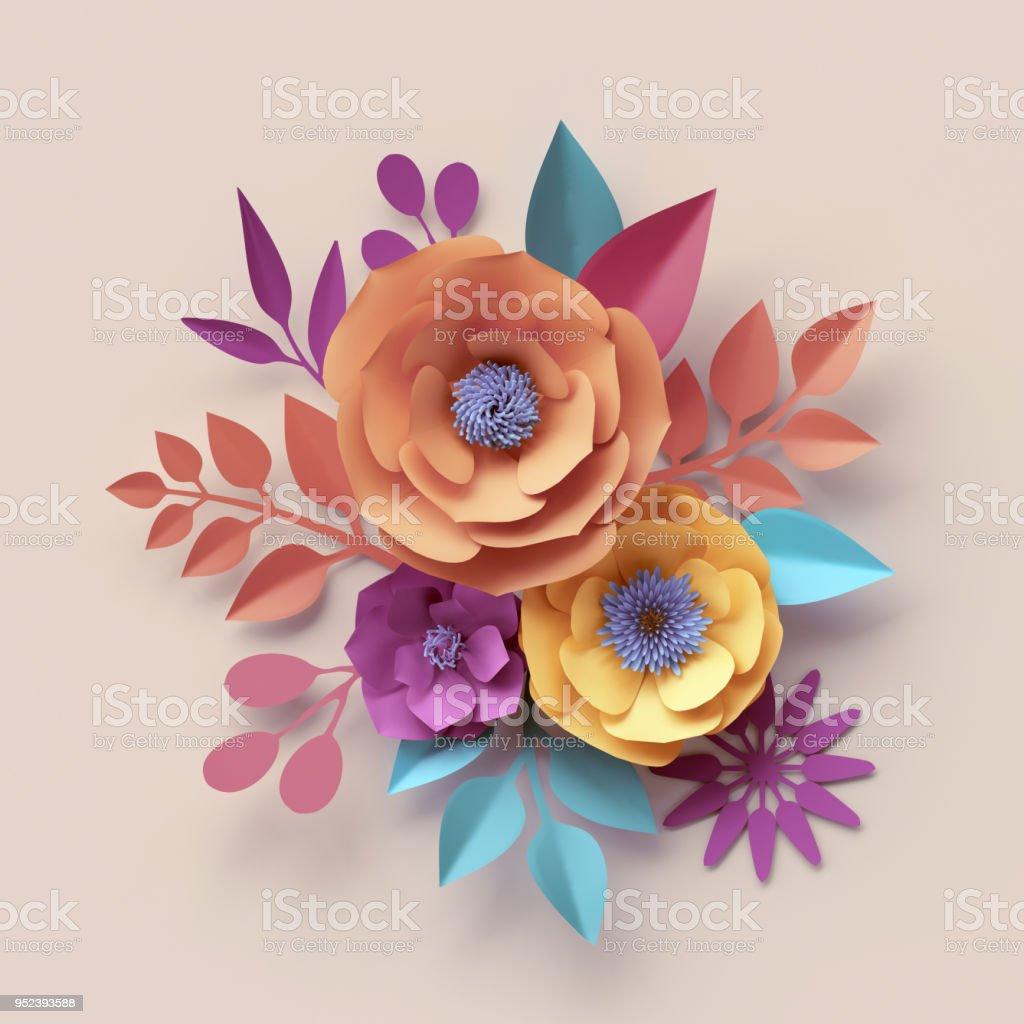 3d Render Digital Illustration Abstract Frame Colorful Paper Flowers