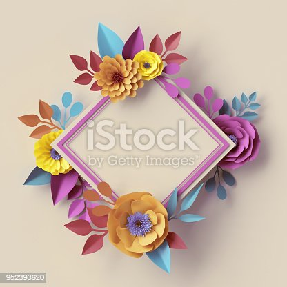 istock 3d render, digital illustration, abstract frame, pastel paper flowers, square wreath, quilling craft, handmade festive decoration, vivid floral background, blue pink yellow, Boho card template 952393620
