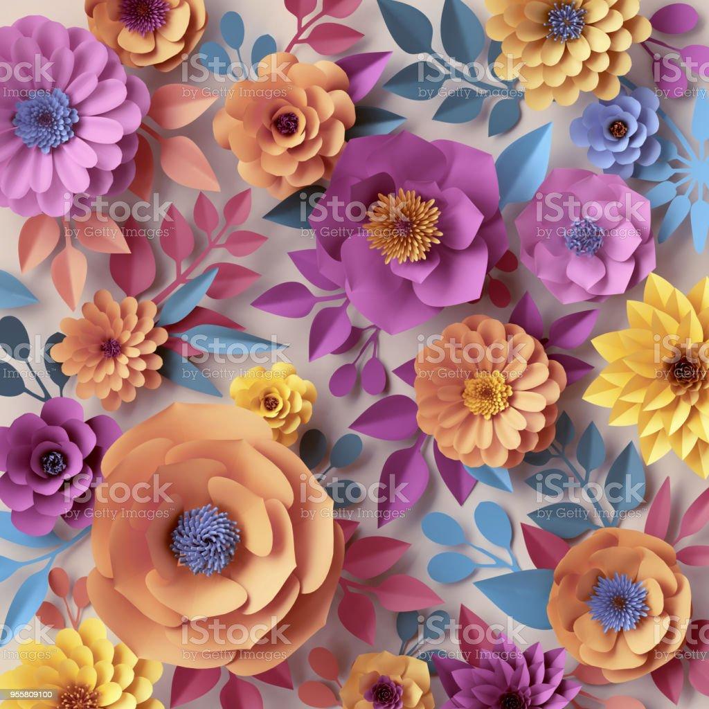 3d Render Digital Illustration Abstract Paper Flowers Botanical