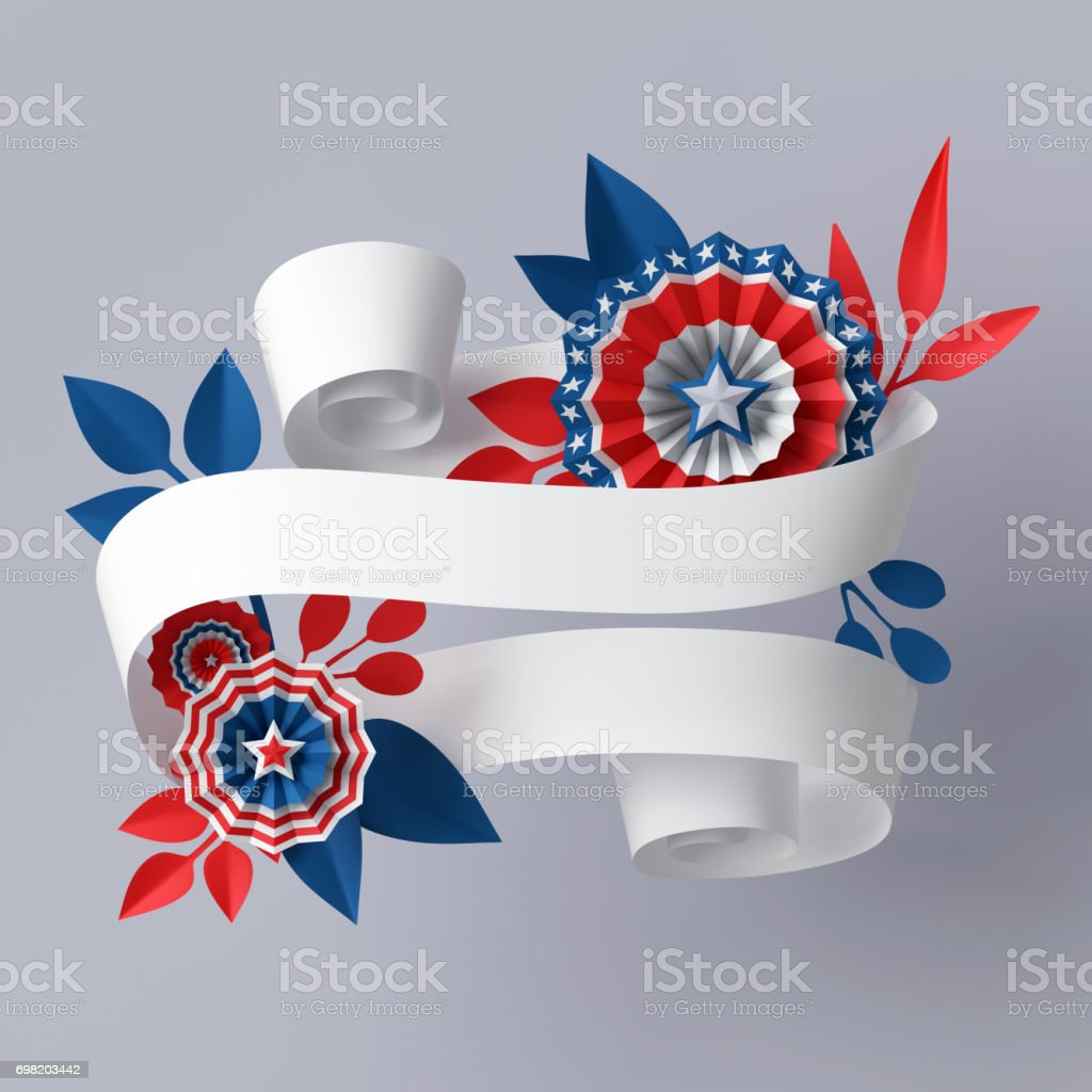 3d render, digital illustration, abstract red blue paper flowers, design element, 4th july patriotic background, USA independence day banner, invitation, greeting card template stock photo