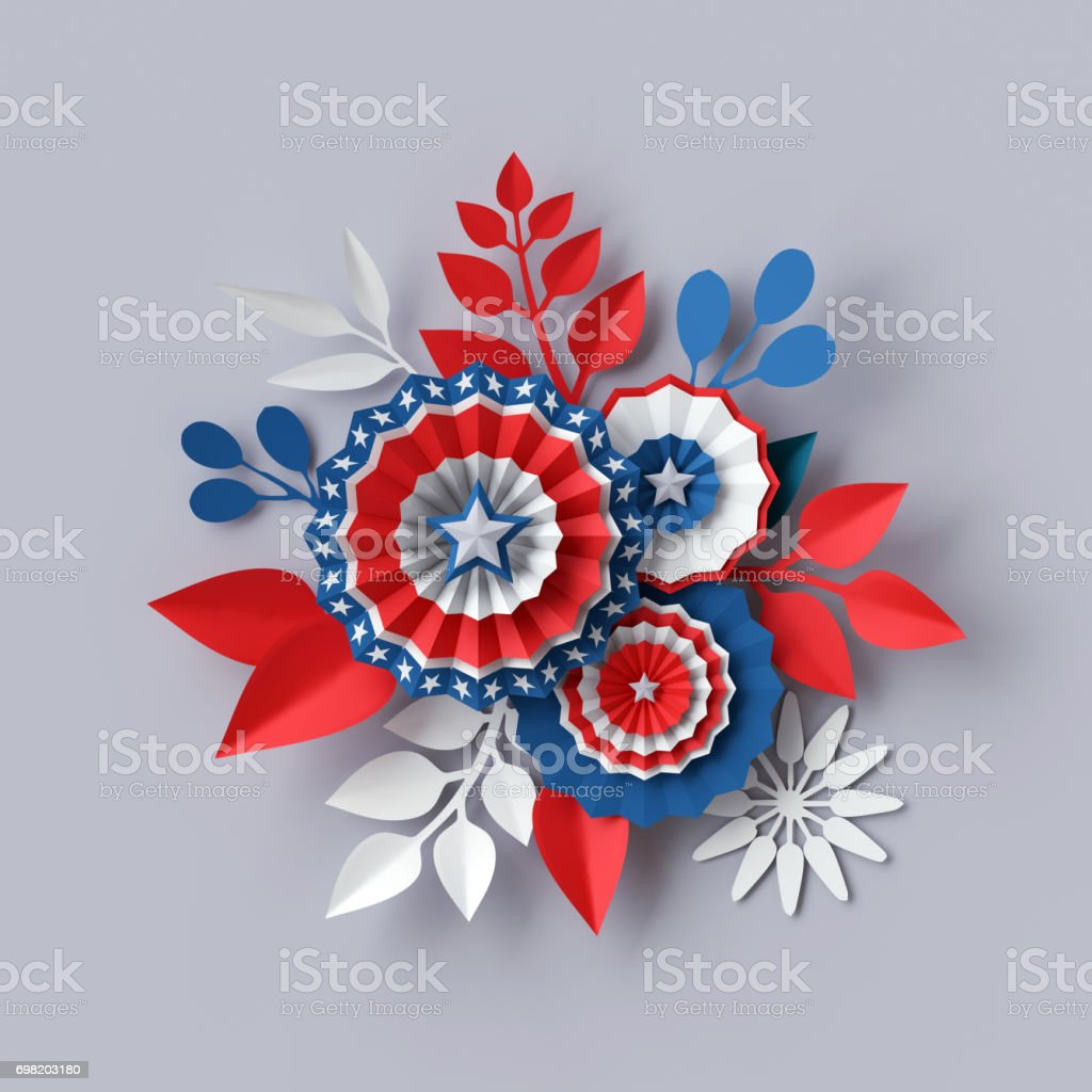 3d render, digital illustration, abstract red blue paper flowers, party decoration, 4th july patriotic background, USA independence day celebration stock photo