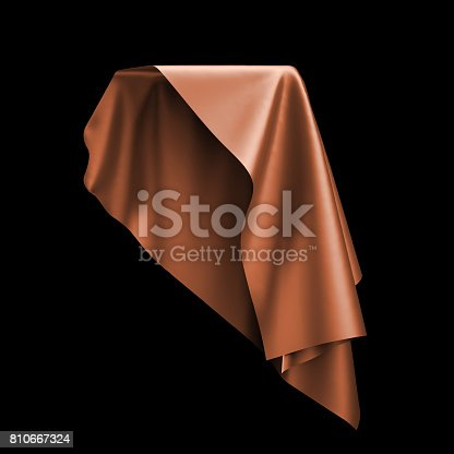 istock 3d render, digital illustration, abstract table cloth, flying, falling, soaring fabric, unveil drapery, orange silky curtain, corner, textile cover, isolated on black background 810667324