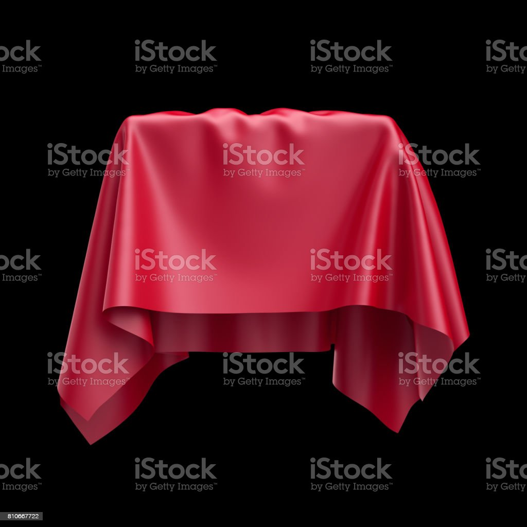 3d render, digital illustration, abstract table cloth, flying, falling, soaring fabric, unveil drapery, red silky curtain, corner, textile cover, isolated on black background stock photo