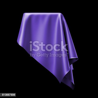 istock 3d render, digital illustration, abstract table cloth, flying, falling, soaring fabric, unveil drapery, violet silky curtain, corner, textile cover, isolated on black background 810667906
